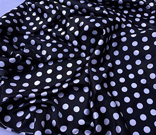 (Black/White 1/2inch Polka Dot Soft/Silky Charmeuse Satin Fabric. By The Yard.)