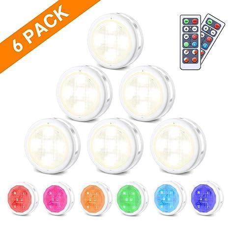 RGB Schrankleuchten LED Nachtlicht mit Fernbedienung 6er | Kabinett Beleuchtung | 10 Dimmstufen | 4 Timing-Funktion | Batteri