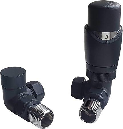 Anthracite TRV d/'angle et raccords de r/églage Ensemble de robinets thermostatiques pour radiateur Caldo