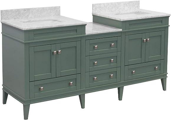 Eleanor 72-inch Double Bathroom Vanity Carrara/Sage Green : Includes Sage Green Cabinet