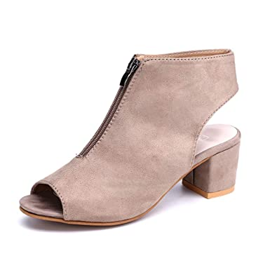 Sandalen Keilabsatz Schwarz 5cm Stiefel Damen Reißverschluss Sommer Peep Schuhe Plateau Party Rot Grau Eu43 Stiefeletten Toe Eu34 Blockabsatz nw0P8OXk