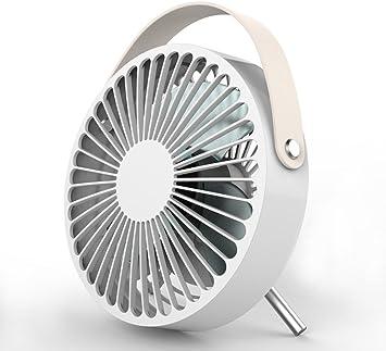 White Circle USB Desk Portable Mini Fan with Handle