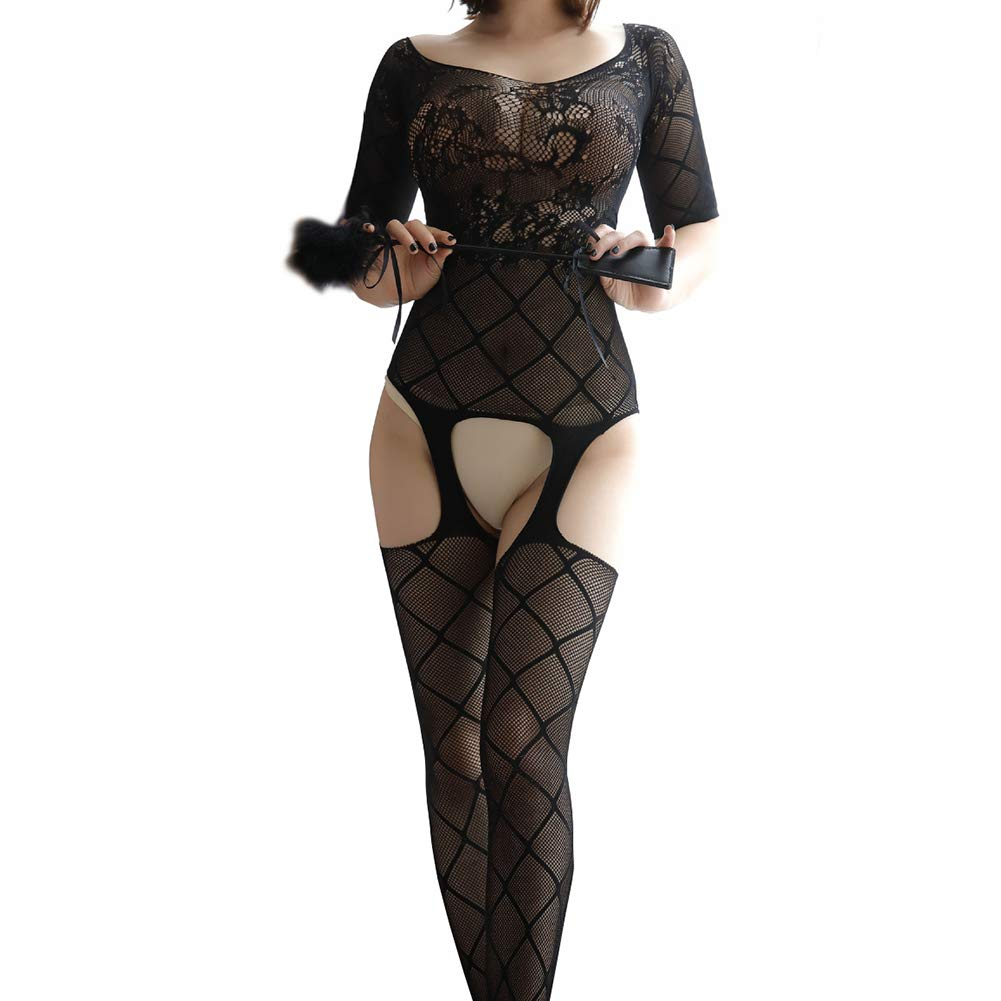 696ab6d49a8d3 Amazon.com  Kasla Women Lace Bodystocking Fishnet Stretchy Teddy Bodysuit  Nightwear One Size  Clothing