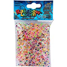 Authentic Rainbow Loom Confetti Jelly Bands | 600 Bands & 24 C-Clips | Limited Edition | Multi-color Polka Dot