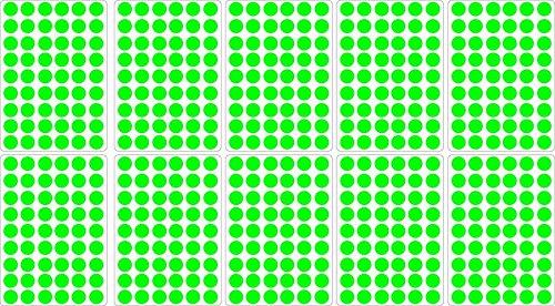 Akachafactory Lot gommettes Autocollantes 540 Rondes Vert Clair 1,5cm Carte Scrapbooking
