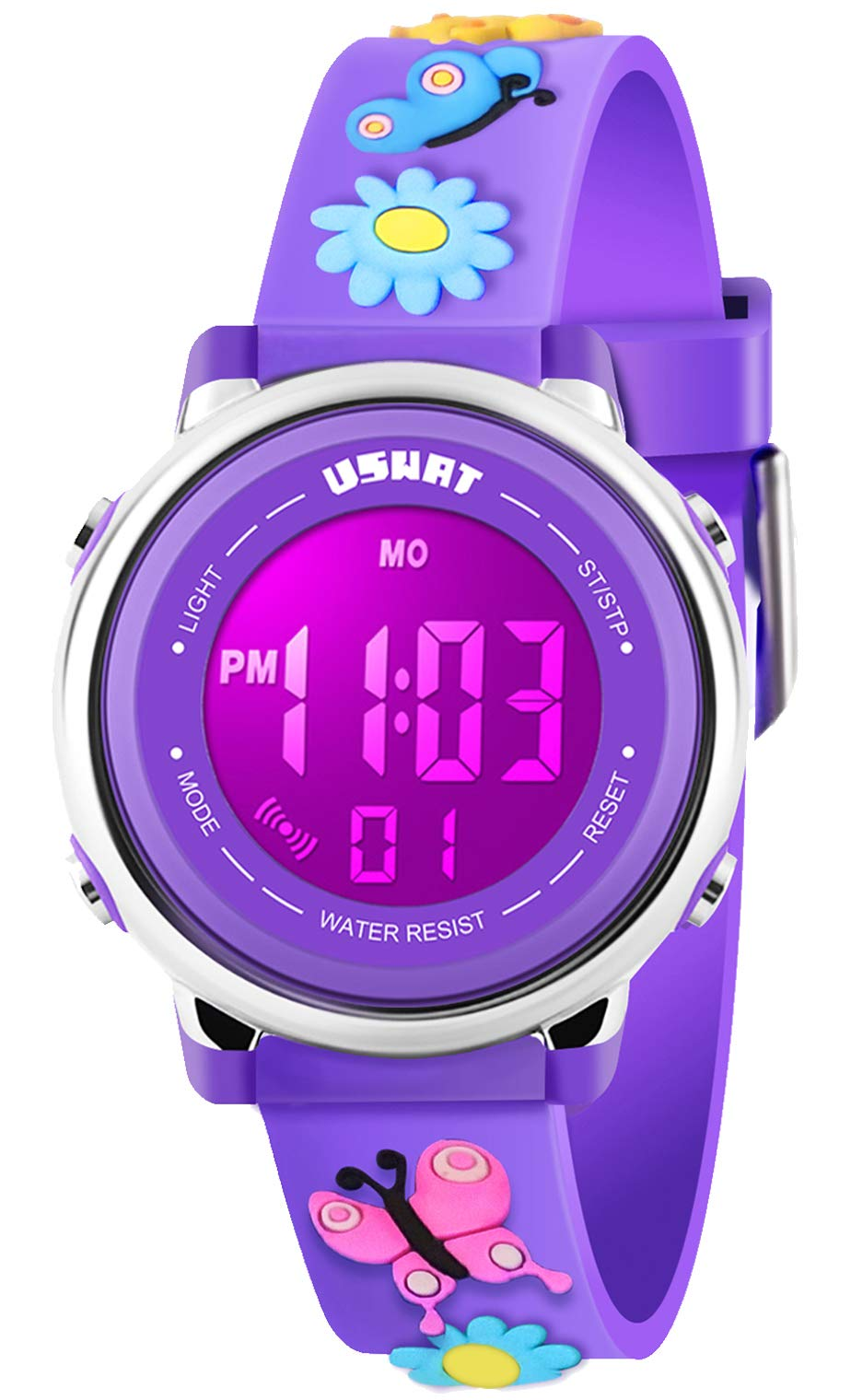 Kid Watch 3D Cute Butterfly Cartoon Multi Function 50M Waterproof Sport LED Alarm Stopwatch Digital Child Wristwatch for Boy Girl Purple by USWAT