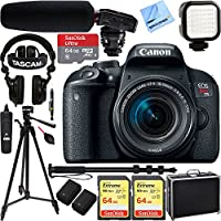 Canon EOS Rebel T7i Digital SLR Camera with EF-S 18-55mm IS STM Lens w/ Tascam DSLR Audio Recorder and Shotgun Microphone + 128GB & 64GB Pro Video Bundle