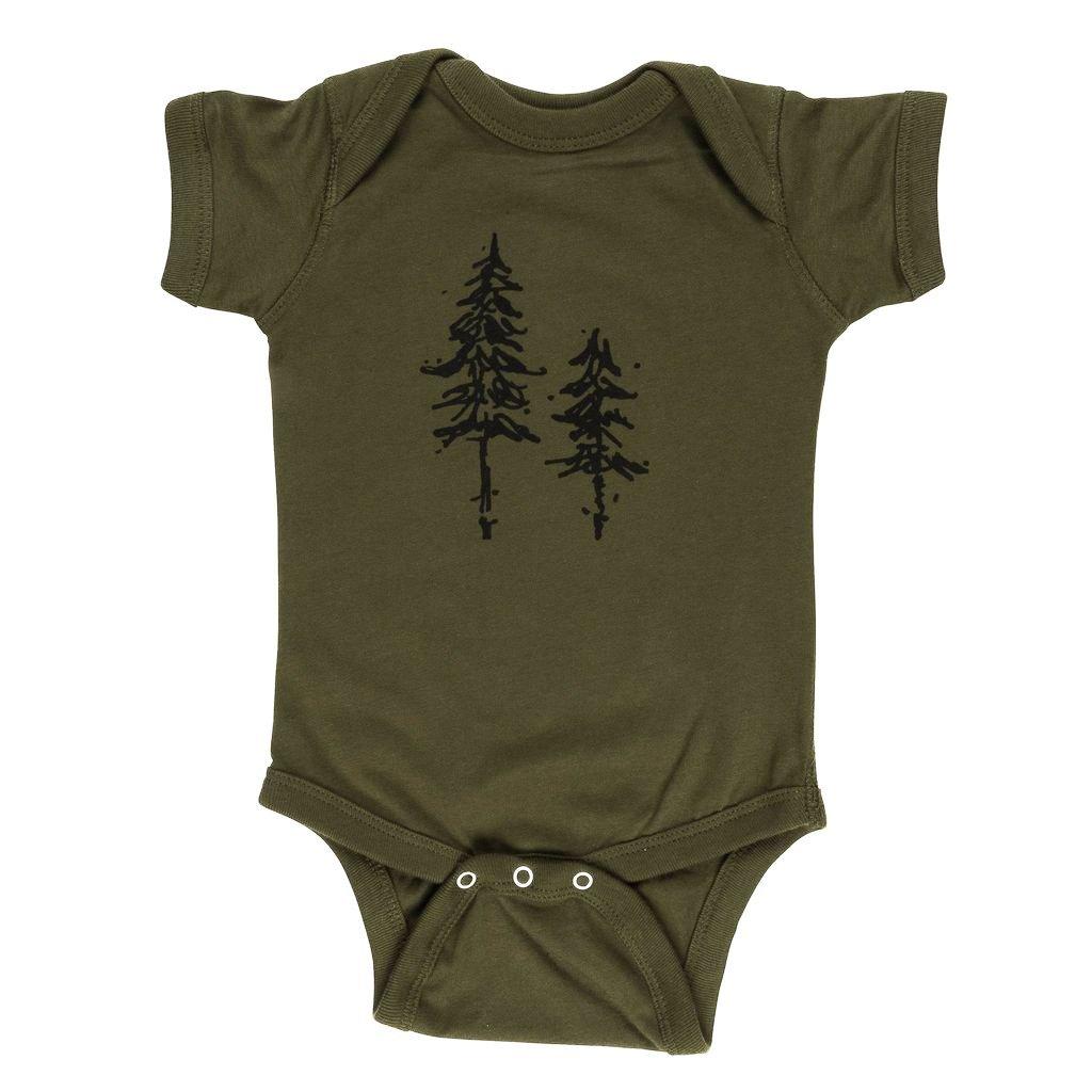 Pine Trees 100% Cotton Baby Onesie