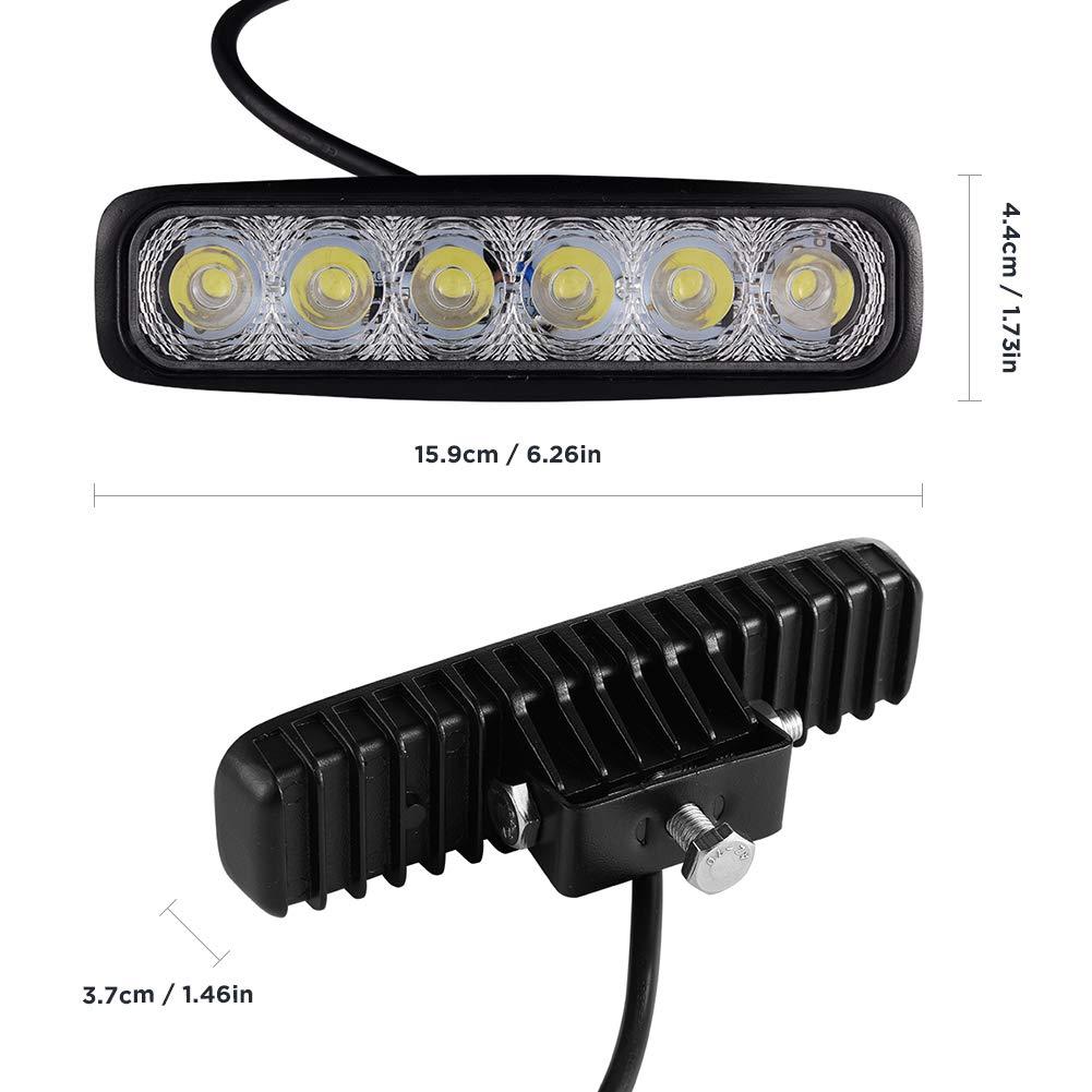 trabajo Faros 18 W IP67 Blanco fr/ío 6000k 1450LM Super Bright 6 Light Beads para veh/ículos todo terreno Viugreum Reflector LED para autom/óvil Faros delanteros Luces de ATV excavadoras