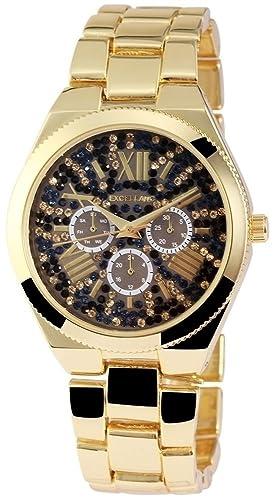 Mujer Números Romanos Reloj Oro Strass Chrono aspecto de metal reloj de pulsera: Amazon.es: Relojes