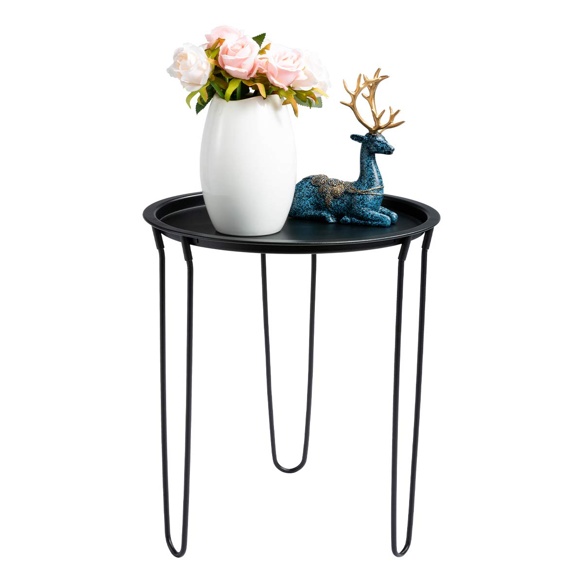 HollyHOME Small Round Metal Tray End Table, Sofa Table Accent Side Table, Anti-Rust and Outdoor Indoor Waterproof Snake and Coffee Table with Hairpin Legs, H 17.8 x D 15.55 , Black