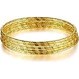 9691d638c9862 SWEETIEE - Bracelet Femme Multi Rangs Jonc Simple avec Motif Diagonal  plaque Or, Doree,
