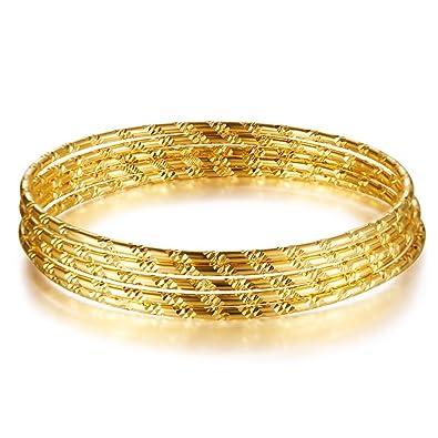 OPK Jewellery 6pcs/Set 18k Gold Plated Bangles Set Sparkling Stackable Bangle Bracelet for Women IjNspuLQt5