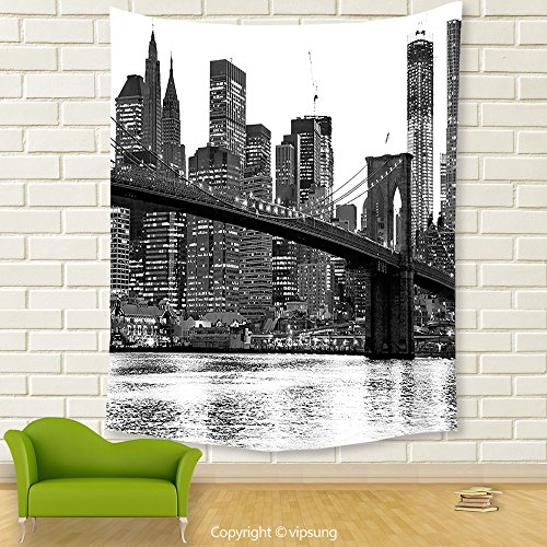 Vipsung House Decor Tapestry_Modern Brooklyn Bridge Sunset With Manhattan American New York City Famous Town Image Black And White_Wall Hanging For Bedroom Living Room Dorm (Halloween Dog Parade Brooklyn)