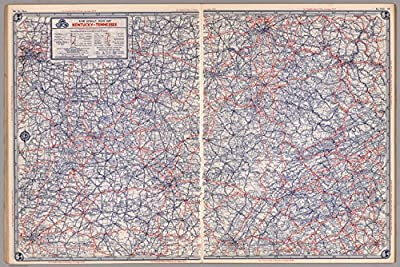 "Map Poster - Road map of Kentucky-Tennessee - 24""x16"""