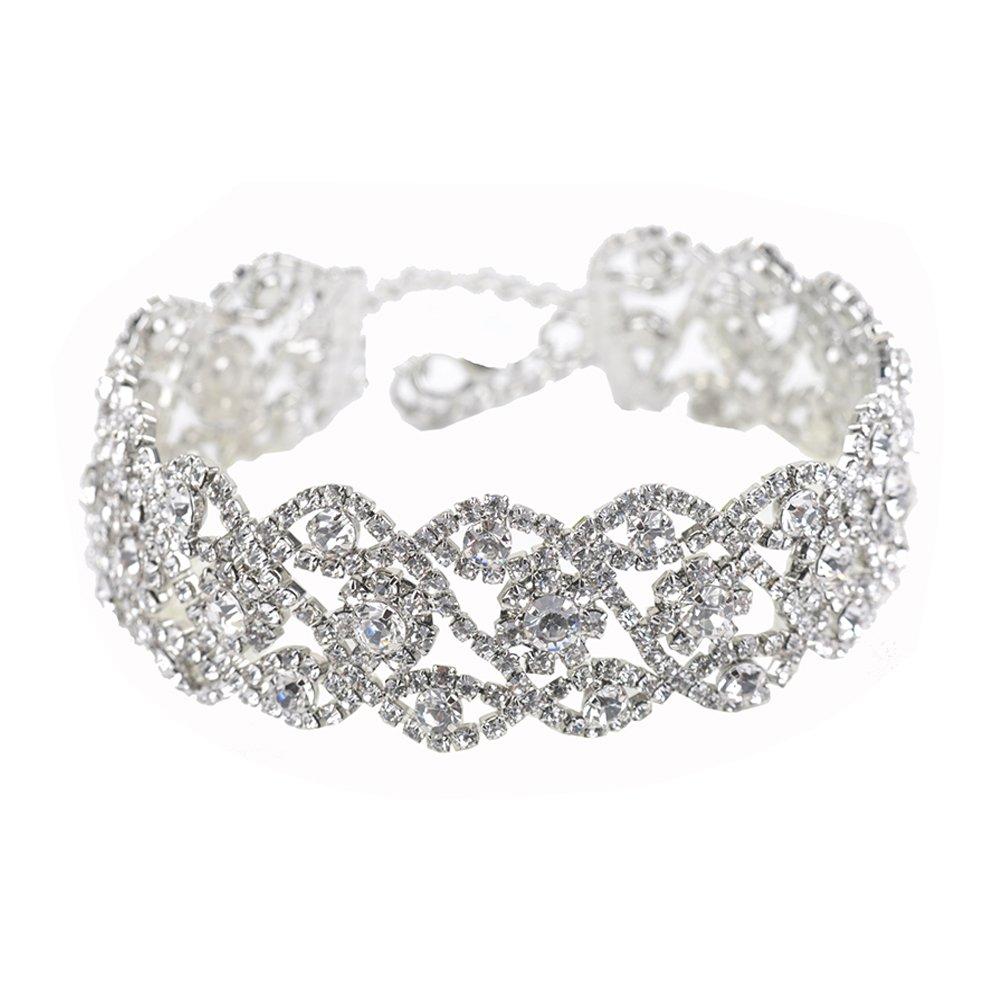 Zealmer Wide Crystal Choker Necklace Infinity Rhinestone Choker Flower Design for Valentine's Day