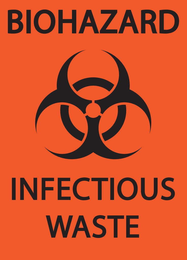 Black on Orange ZING 1915 Eco Safety Sign Recycled Plastic 10 H x 7 W Biohazard Infectious Waste