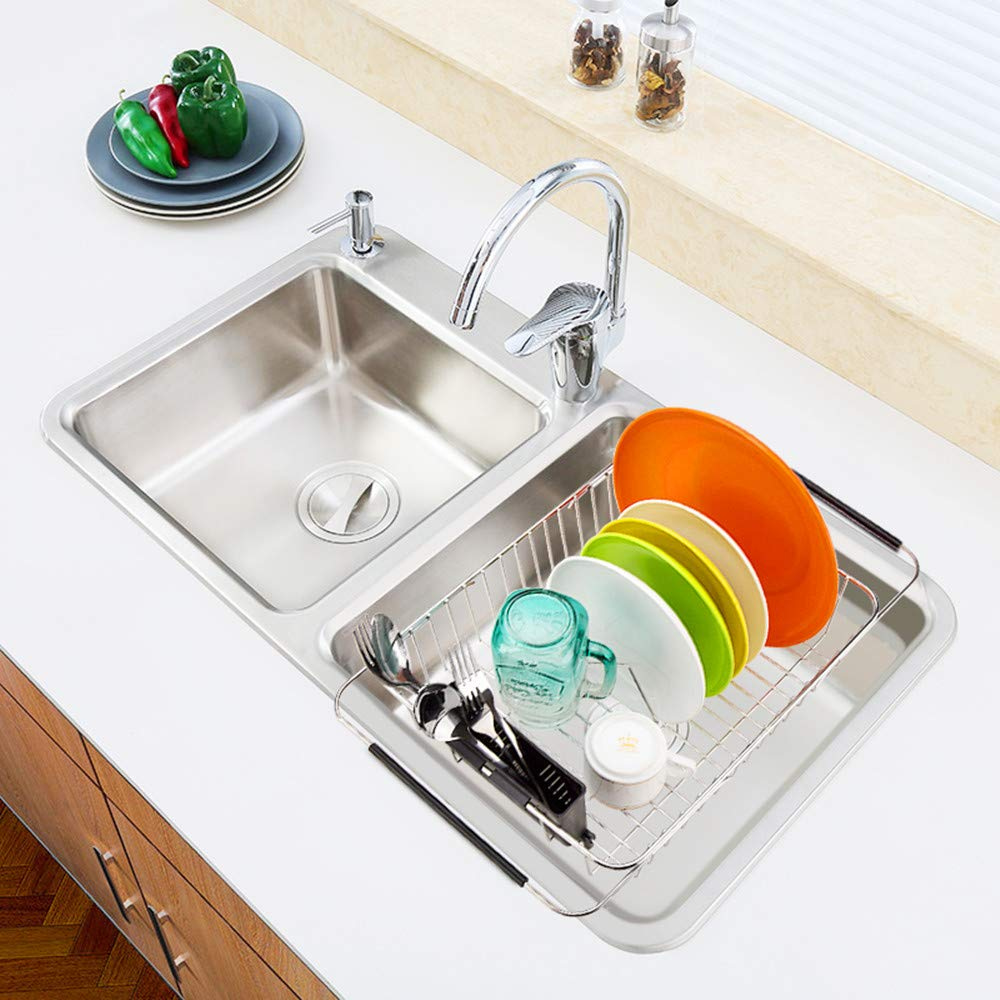 SANNO Expandable Dish drying Rack,Over the Sink Adjustable Dish Drainer,Dish Rack In Sink or On Counter with Utensil Silverware Storage Holder, Rustproof Stainless Steel by SANNO (Image #7)