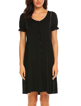 204ef4fdc0 Acecor Women s Scoopneck Short Sleeve Sleep Dress Loose Nightshirt Sleepwear