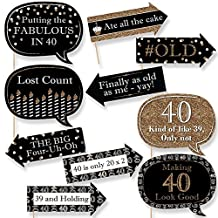 Funny Adult 40th Birthday - Gold - Birthday Party Photo Booth Props Kit - 10 Count