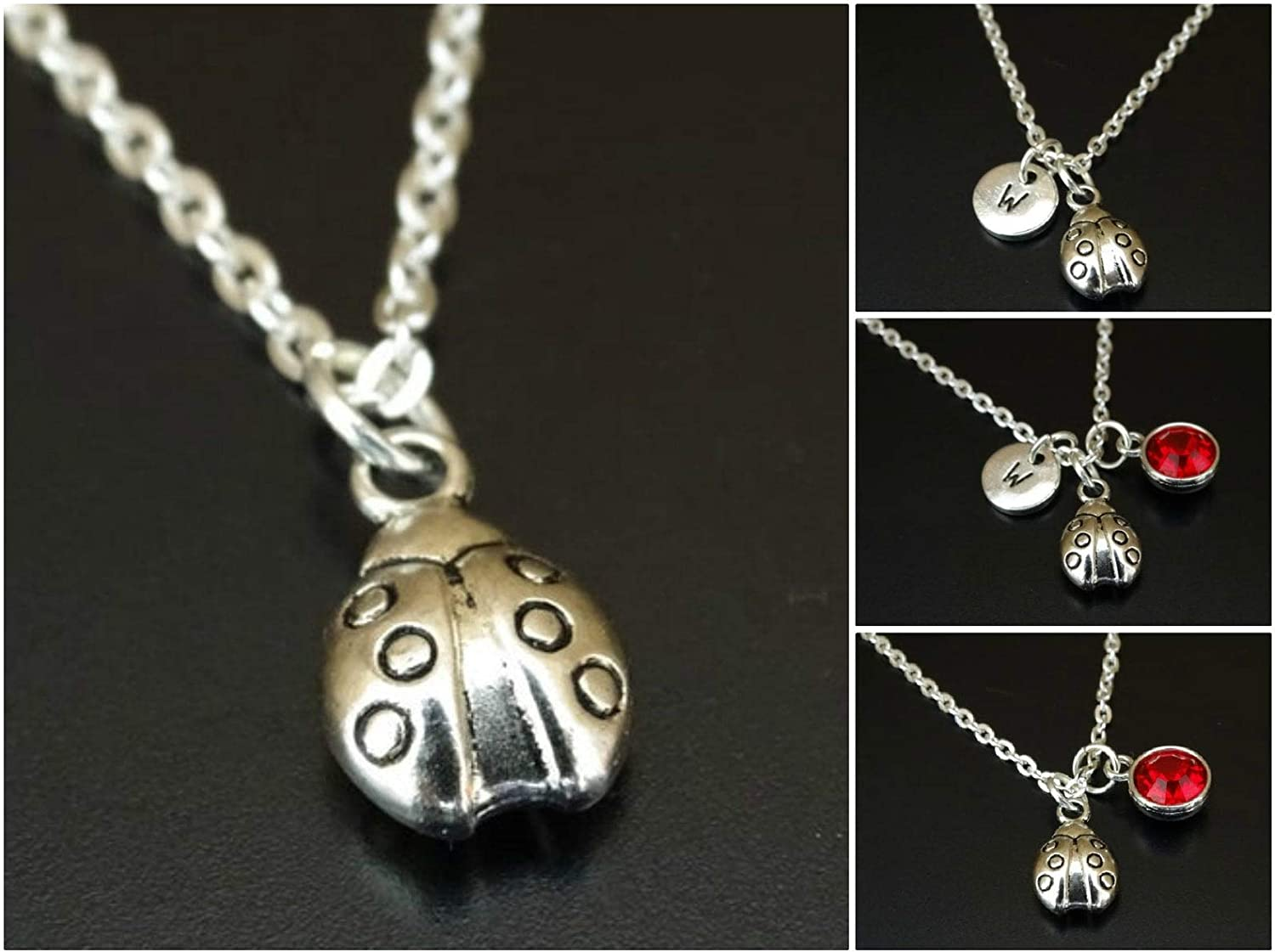 Ladybug Necklace Initial Letter Birthstone Silver Charm Pendant Customized Jewelry Gift