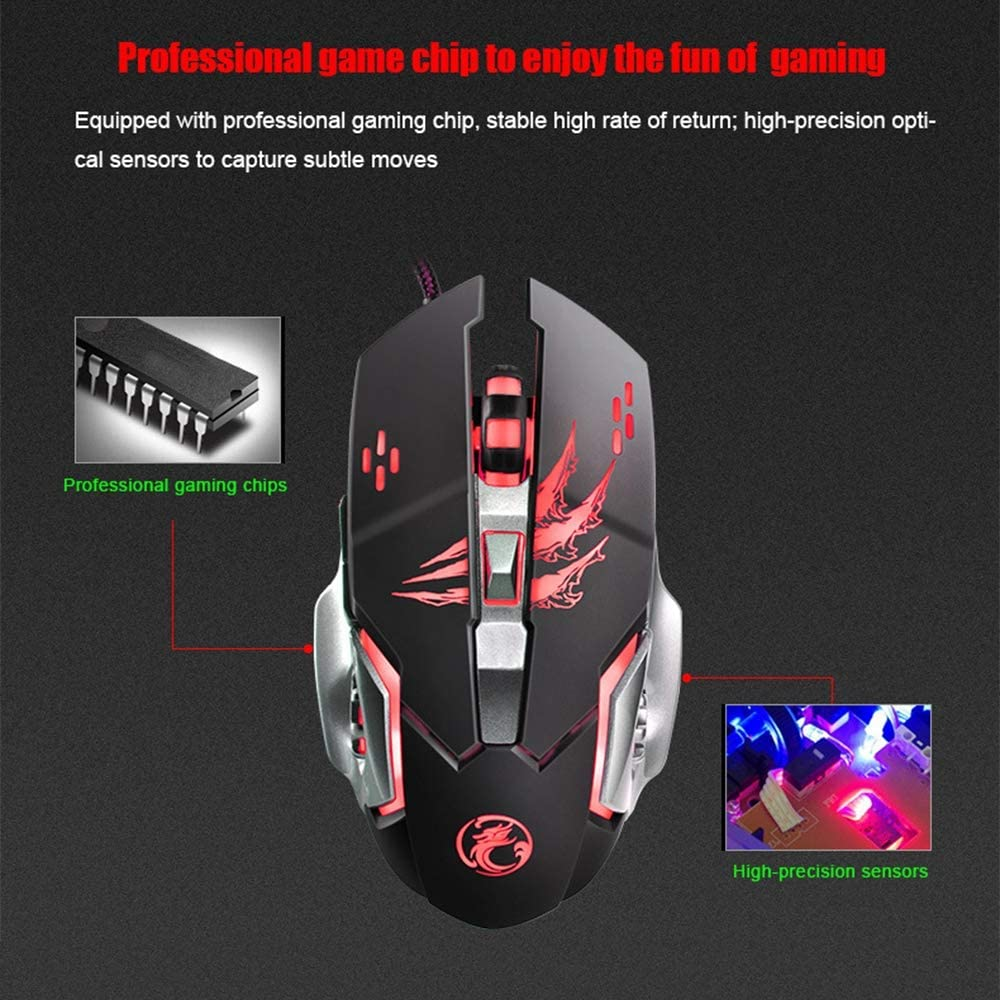 Support for Custom Macro Programming 6-Button 3200 DPI LED Optical USB Computer Mouse 4-Speed DPI Adjustable 4-Color LED Backlight YUEF Gaming Mouse