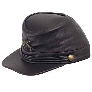 Genuine Leather Civil War Kepi Cap Army Military Soldier Cadet Hat Black 6  7 8 62907dff3d32