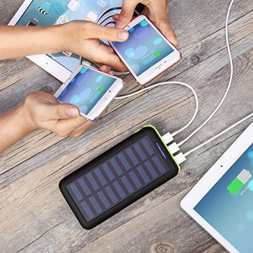 Power Bank Portable Solar Charger - 22000mAh with Dual Input & 3 USB Output Solar Charger, High-speed Charging Technology Battery Pack for iPhone, Samsung Galaxy and more (green) by Aikove (Image #6)