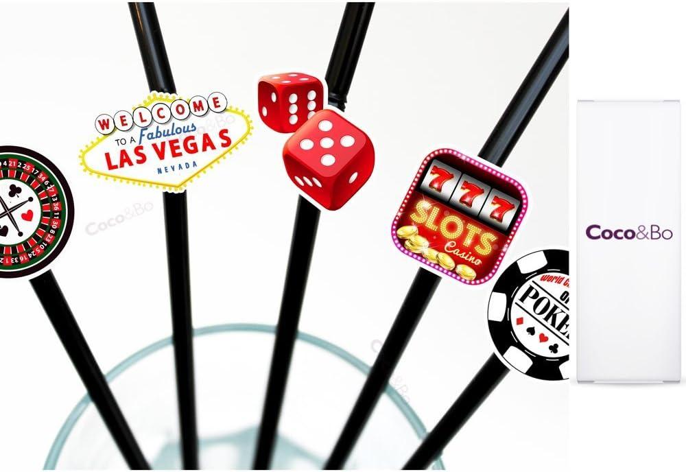 10 x Coco/&Bo Fabulous Las Vegas James Bond Theme Decorations by Coco /& Bo Casino Poker Night Card Party Bendy Cocktail Straws