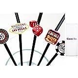 10 x coco y Bo Fabulous Las Vegas - rojo y negro pajitas flexibles - Cocktail Party accesorios - Tarjeta de Fiesta de póquer del Casino Night/decoración diseño de James Bond