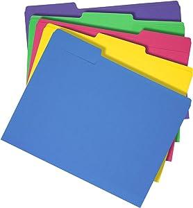AmazonBasics 3 Tab Heavyweight Manila File Folders, Letter Size, Assorted Colors, 50/Box