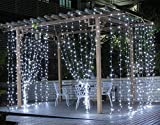 Ucharge Led Light Curtain Icicle Lights 300led 9.8feet 8modes Linkable White Christmas Curtain String Fairy Wedding Lights for Home, Garden, Kitchen, Bedroom, Livingroom, Party, Window Decorations