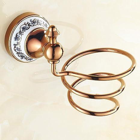 Chang Rose Gold Hair Dryer Rack Bathroom Storage Hair Dryer Bracket Spiral Practical Wall Hanging Hair Dryer Rack