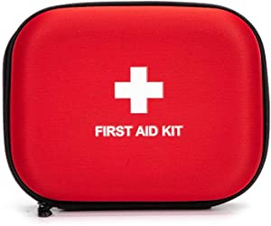 "First Aid Hard Case Empty, Jipemtra First Aid Hard Shell Case First Aid EVA Hard Red Medical Bag for Home Health First Emergency Responder Camping Outdoors (6.8x5.3x2.2"" Round)"