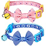 Blueberry Pet Pack of 2 Cat Collars, Perfection Mix Match Designer Adjustable Breakaway Cat Collar for Girl & Boy with Bow Tie & Bell, Neck 9'-13'