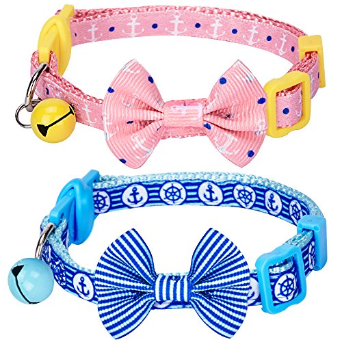 Blueberry Pet Pack of 2 Cat Collars, Perfection Mix Match Designer Adjustable Breakaway Cat Collar for Girl & Boy with Bow Tie & Bell , Neck 9'-13'