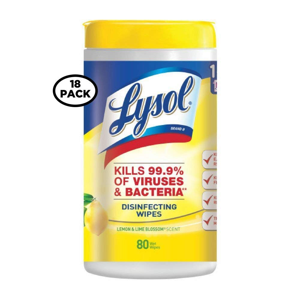 Lysol Disinfecting Wipes, Lemon and Lime Blossom, 80 Count (Pack of 18)