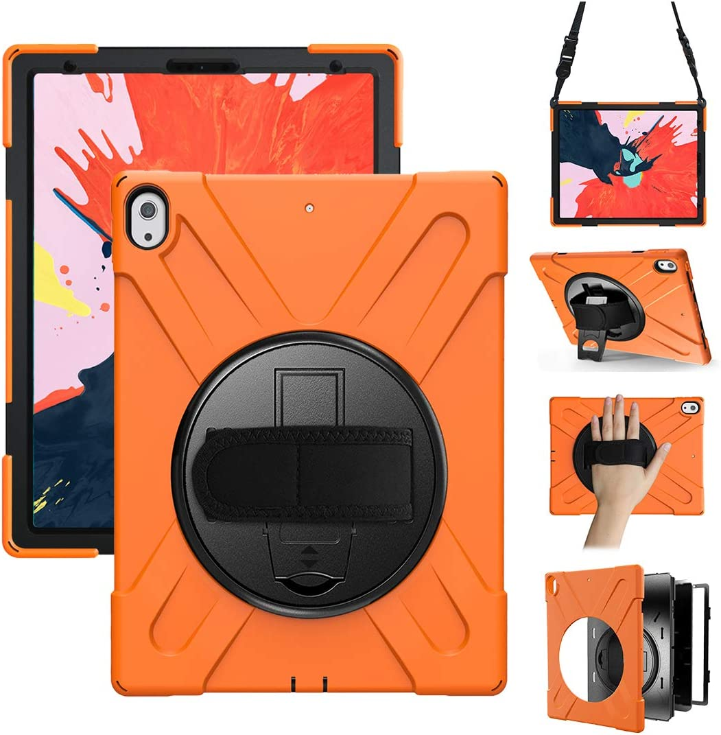 iPad Pro 12.9 Case 2018 Heavy Duty Shockproof Rotatable Kickstand Hard Case with Stand+Hand Strap+Shoulder Strap Full-Body Rugged Protective Cover for iPad Pro 12.9 Inch 2018 Release 3rd Gen, Orange