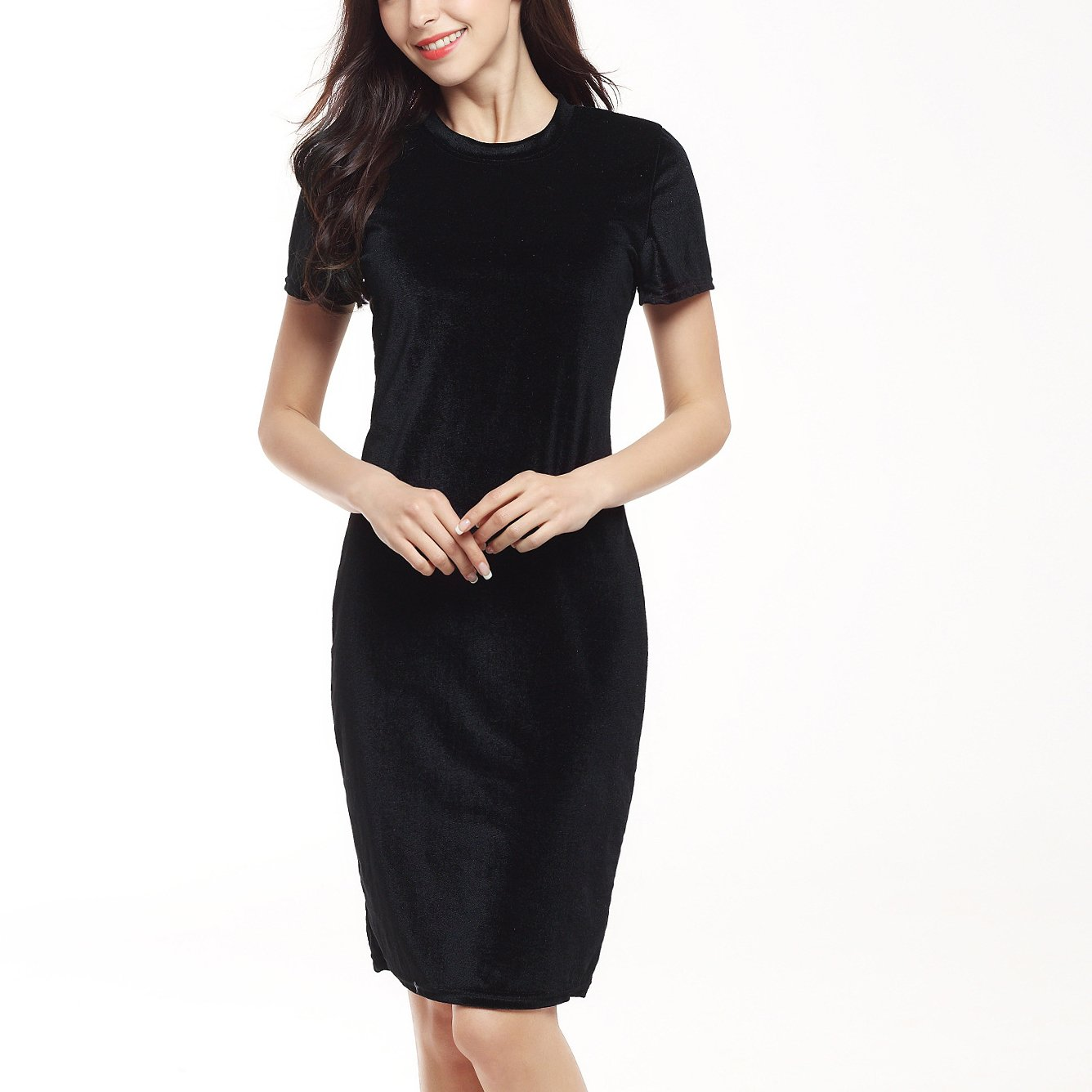 Dreamskull Summer Women Velvet Short-Sleeve Crewneck Knee Length Pencil Dress at Amazon Womens Clothing store: