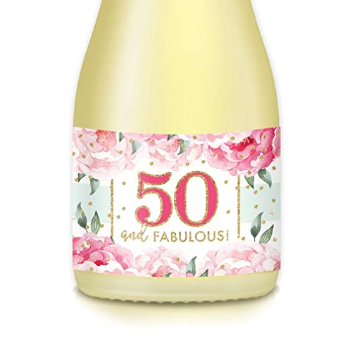 50th BIRTHDAY Party Ideas For Woman Adult Lady Mini Champagne Wine Bottle Decals 50 And Fabulous 20 Count 35 X 175 Labels Celebrate Her Fiftieth