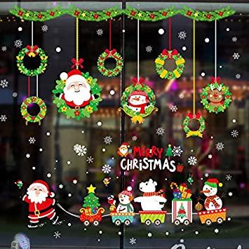 Christmas Window Gel Stickers removable reusable decorations glass cling xmas