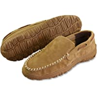 LA PLAGE Men's Adcanced Real Cowhide Moccasin Indoor/Outdoor Casual Slippers with Hardsole