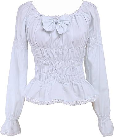 Blanca Algodón Volantes Encaje Bow Kawaii Vintage Victoriana Lolita Camisa Blusa de Mujer