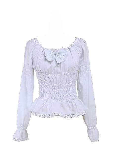 9ab276a12f7 an*tai*na* Blanca Algodón Volantes Encaje Bow Kawaii Vintage Victoriana  Lolita Camisa Blusa de Mujer: Amazon.es: Ropa y accesorios