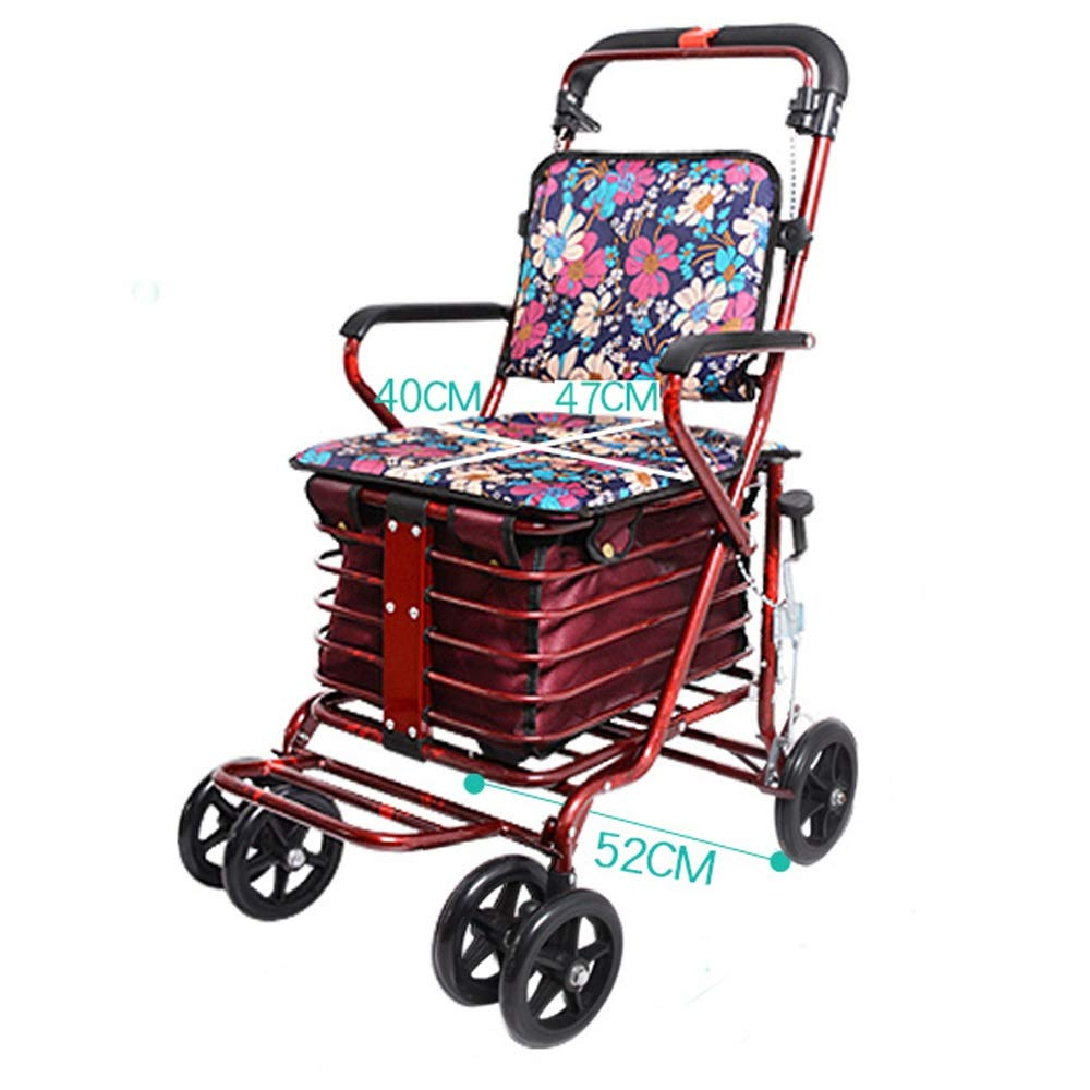 Rollator Walker That Converts to A Wheelchair,with Fold Up Removable Back Support with Seat and Lower Basket Lockable Brake Auxiliary Walking Safety Walker (Color : Red) by YL WALKER