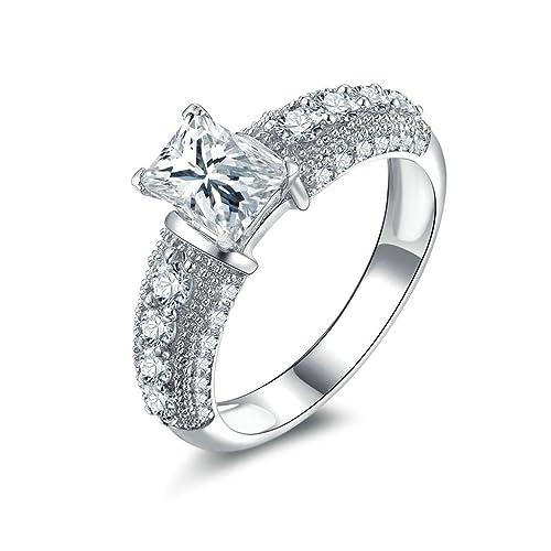 Daesar Joyería Anillos de Compromiso de Plata S925 Mujer, Halo de Talla Esmeralda con Diamantes