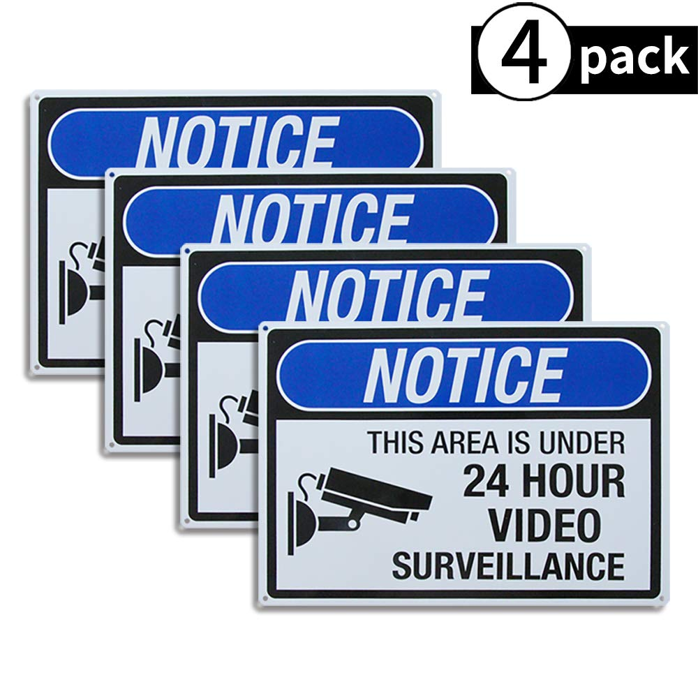 Dxsigns 4-Pack No Trespassing Video Surveillance Sign,Video Audio Surveillance Sign,Big Metal10 x14 Rust Free,30-mil Aluminum Uv Printed,4 pre-drilled Holes.Durable/Weatherproof for House and Office by Dxsigns