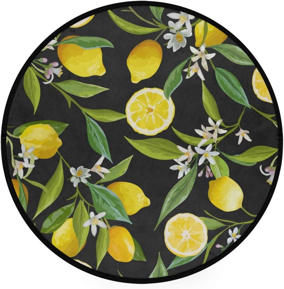 Round Area Rug 3ft – Lemon Tree Black Round Carpet Washable Floor Mats for Kitchen Bedroom Living Room