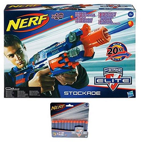 Hasbro Nerf N-Strike Elite STOCKADE Blaster + 12er Schaumstoffdarts-Nachfüllpack A0350