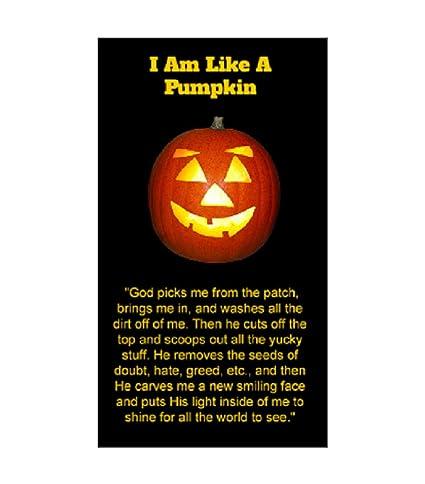 I Am Like A Pumpkin Halloween Pocket Cards, Prayer, Bookmarks, Trunk Or  Treat